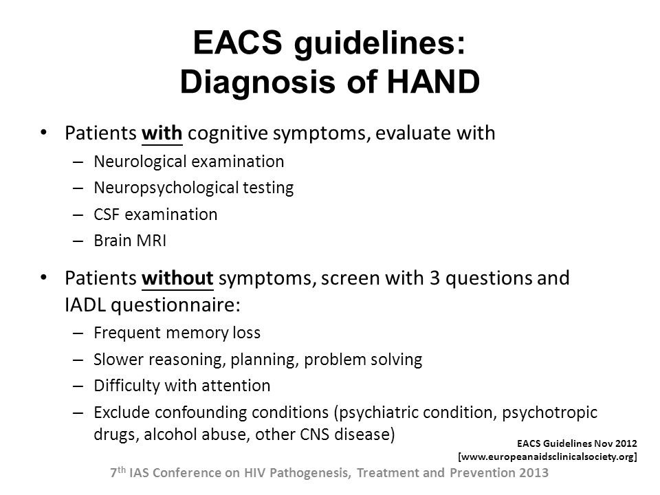 EACS guidelines: Diagnosis of HAND