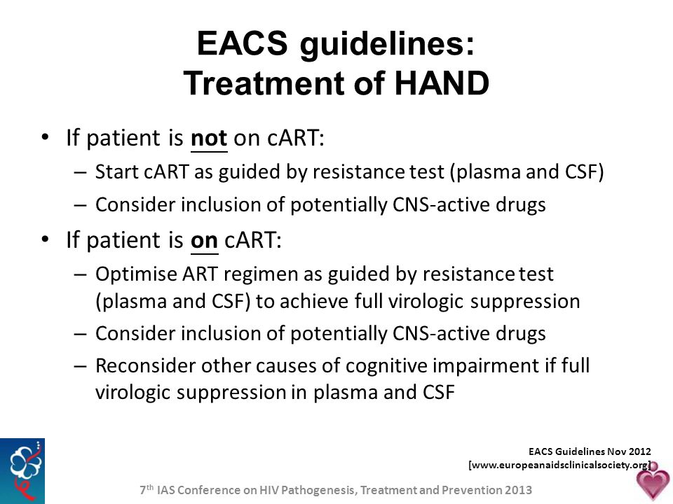 EACS guidelines: Treatment of HAND