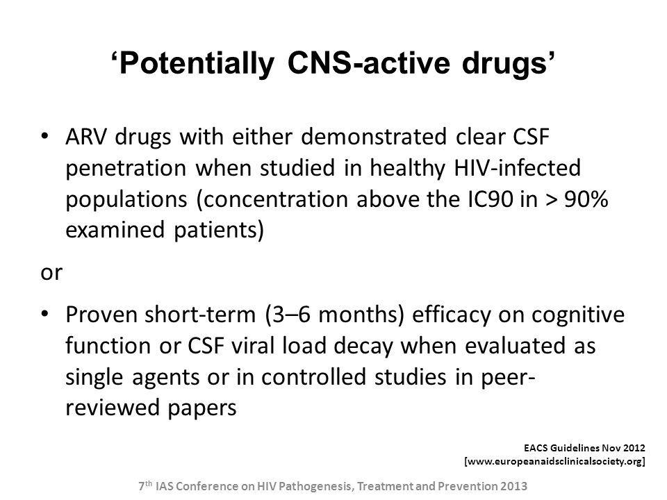 'Potentially CNS-active drugs'
