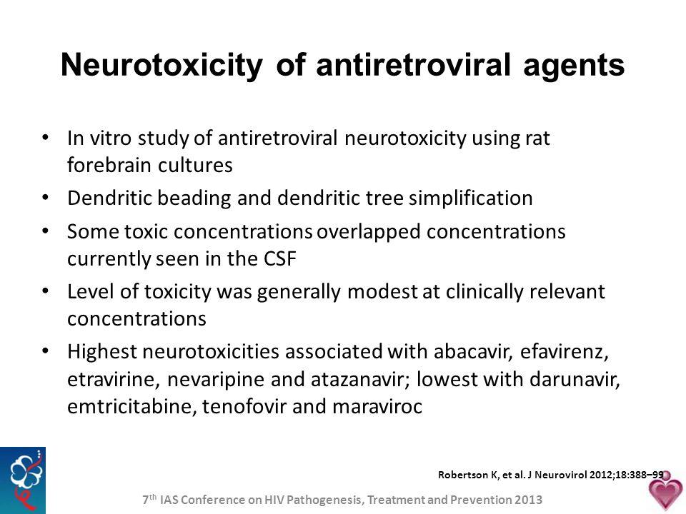 Neurotoxicity of antiretroviral agents
