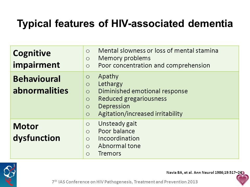 Typical features of HIV-associated dementia