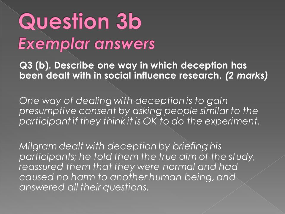 Question 3b Exemplar answers
