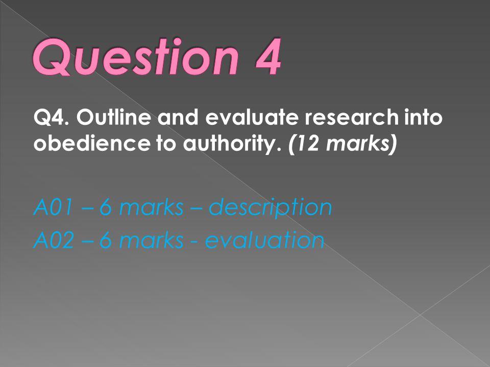 Question 4 A01 – 6 marks – description A02 – 6 marks - evaluation