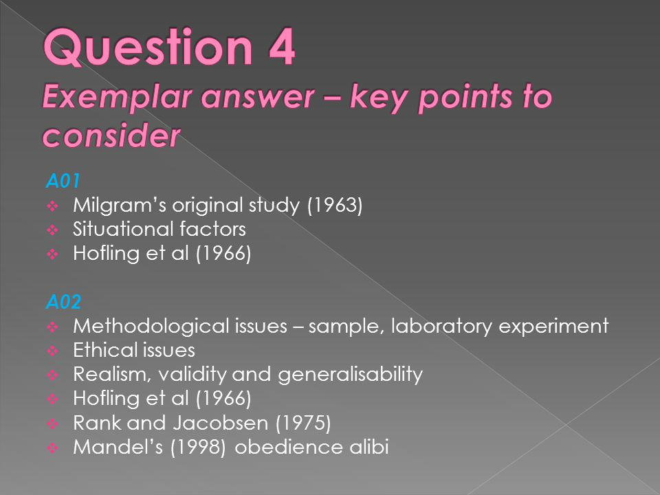 Question 4 Exemplar answer – key points to consider