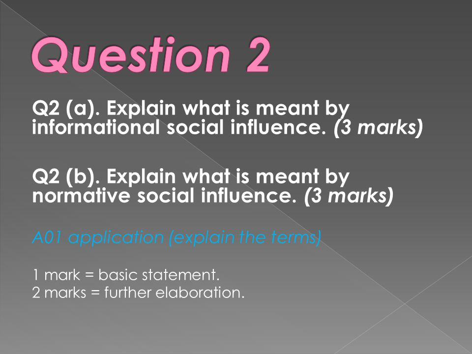 Question 2 Q2 (a). Explain what is meant by informational social influence. (3 marks)