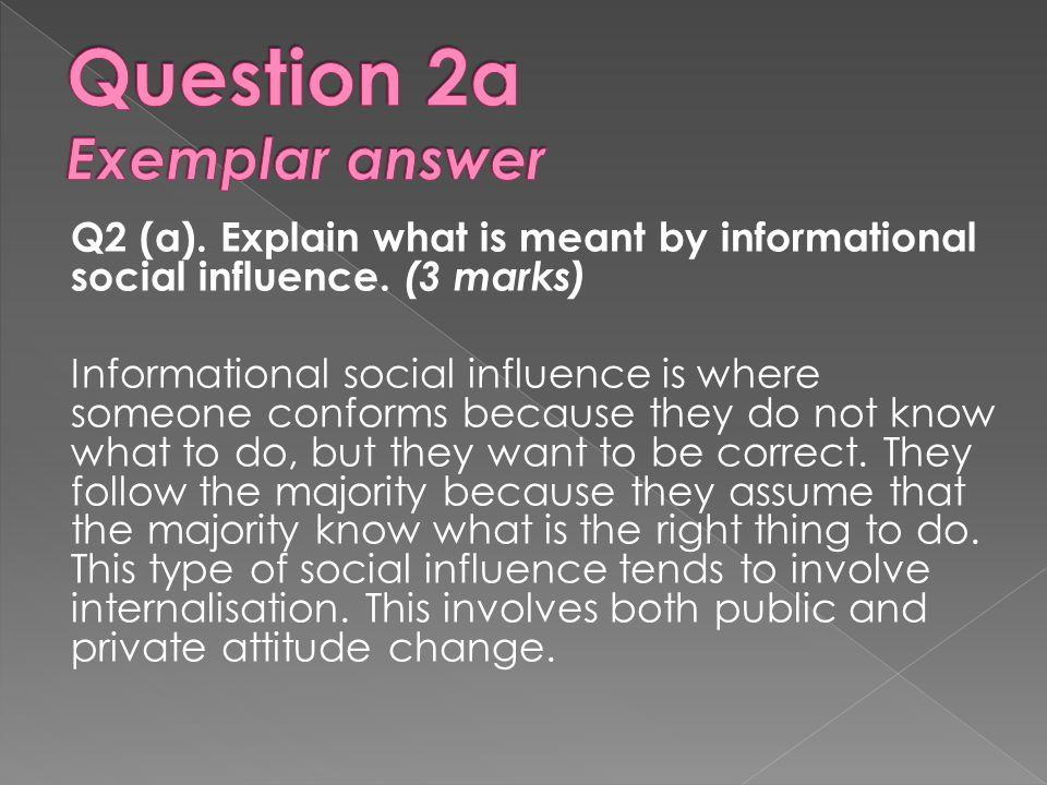 Question 2a Exemplar answer
