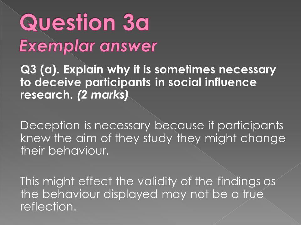 Question 3a Exemplar answer