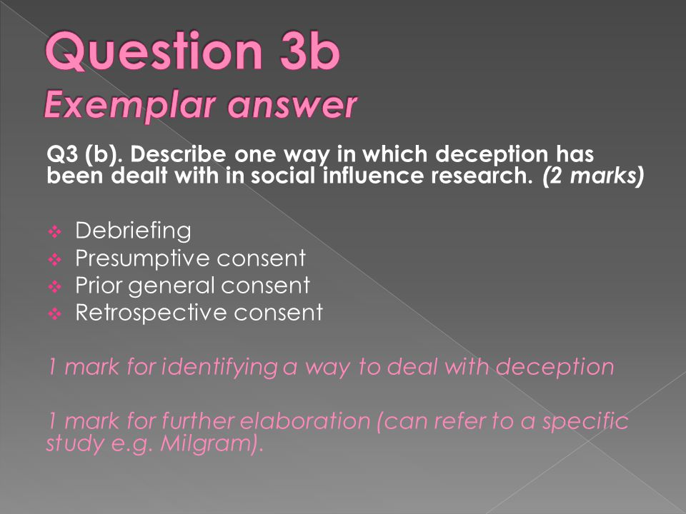 Question 3b Exemplar answer