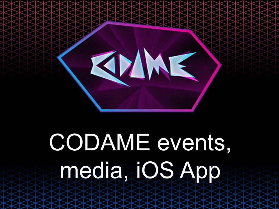 CODAME events, media, iOS App