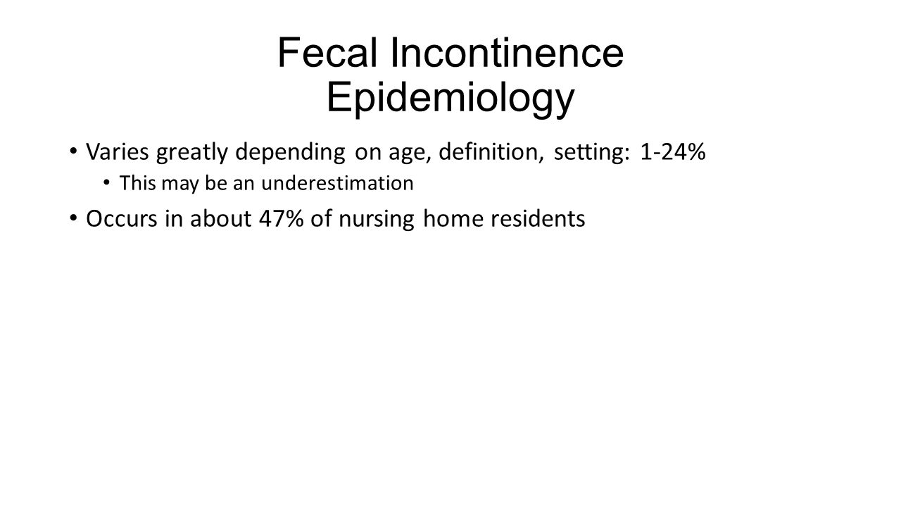 Fecal Incontinence Epidemiology