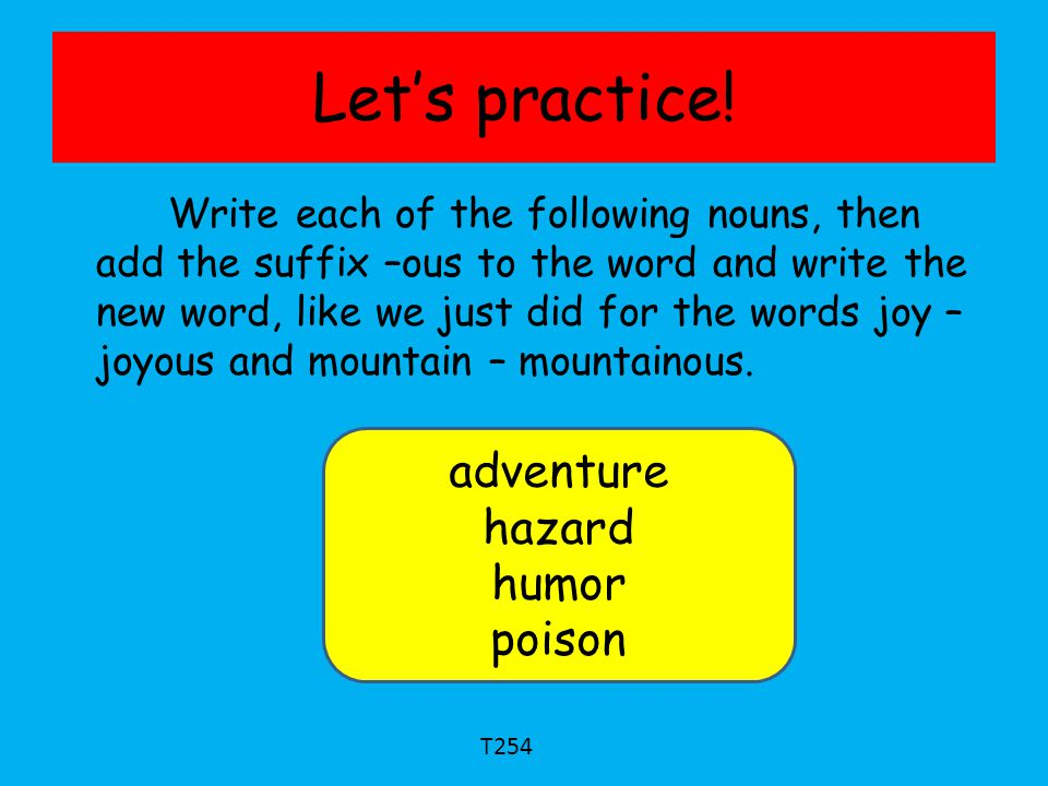 Let's practice! adventure hazard humor poison