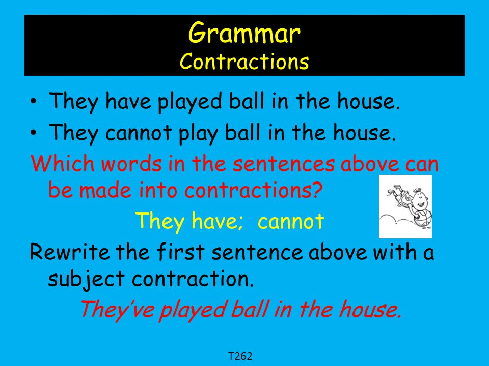 Grammar Contractions They have played ball in the house.