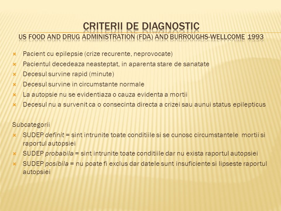 Criterii de diagnostic US Food and Drug Administration (FDA) and Burroughs-Wellcome 1993