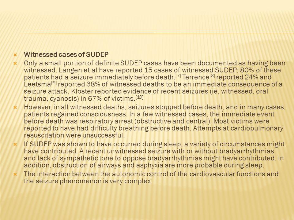 Witnessed cases of SUDEP