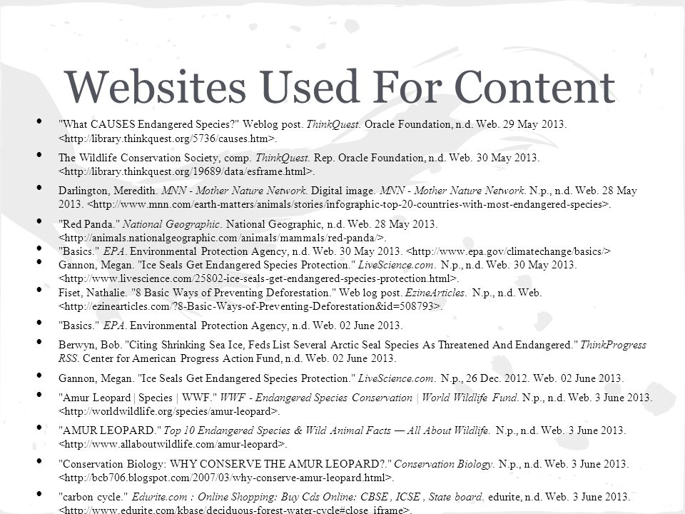 Websites Used For Content