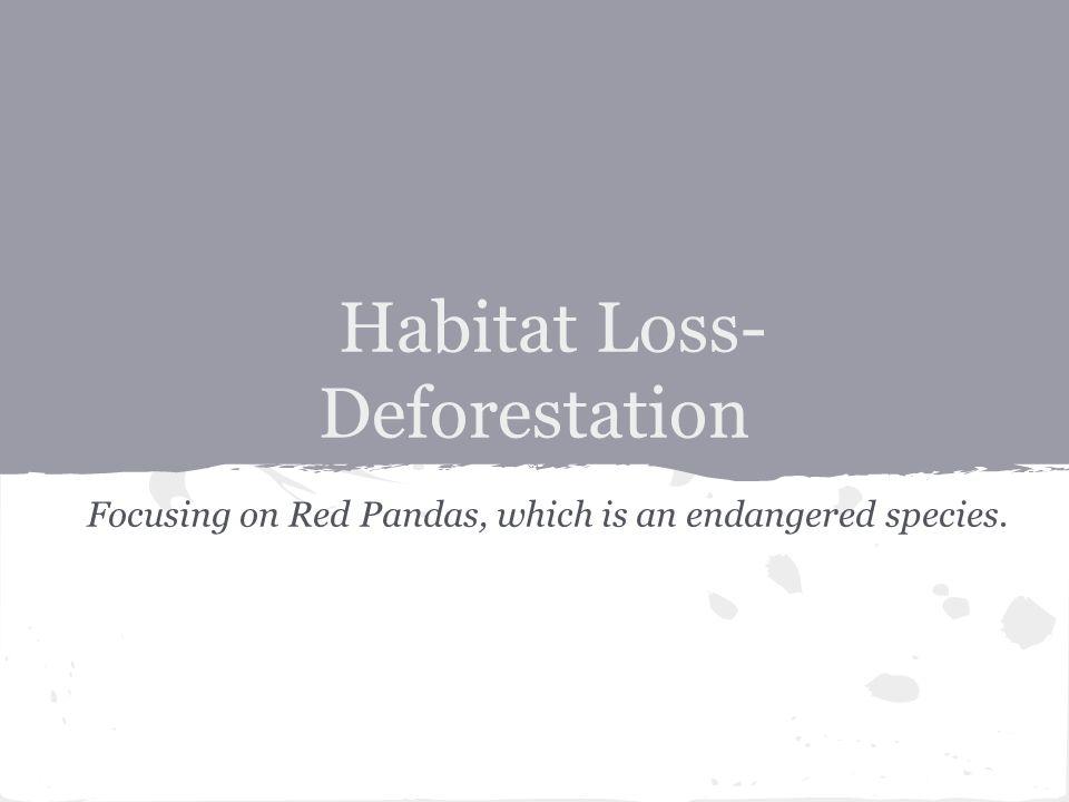 Habitat Loss- Deforestation