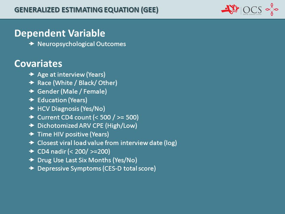 Dependent Variable Covariates Generalized estimating equation (gee)