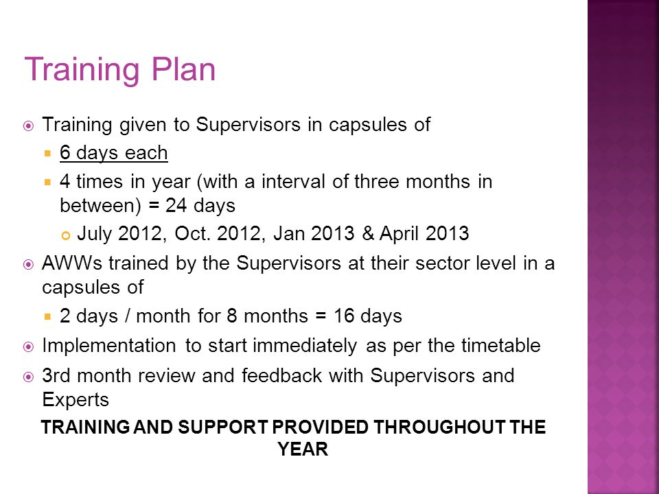 TRAINING AND SUPPORT PROVIDED THROUGHOUT THE YEAR