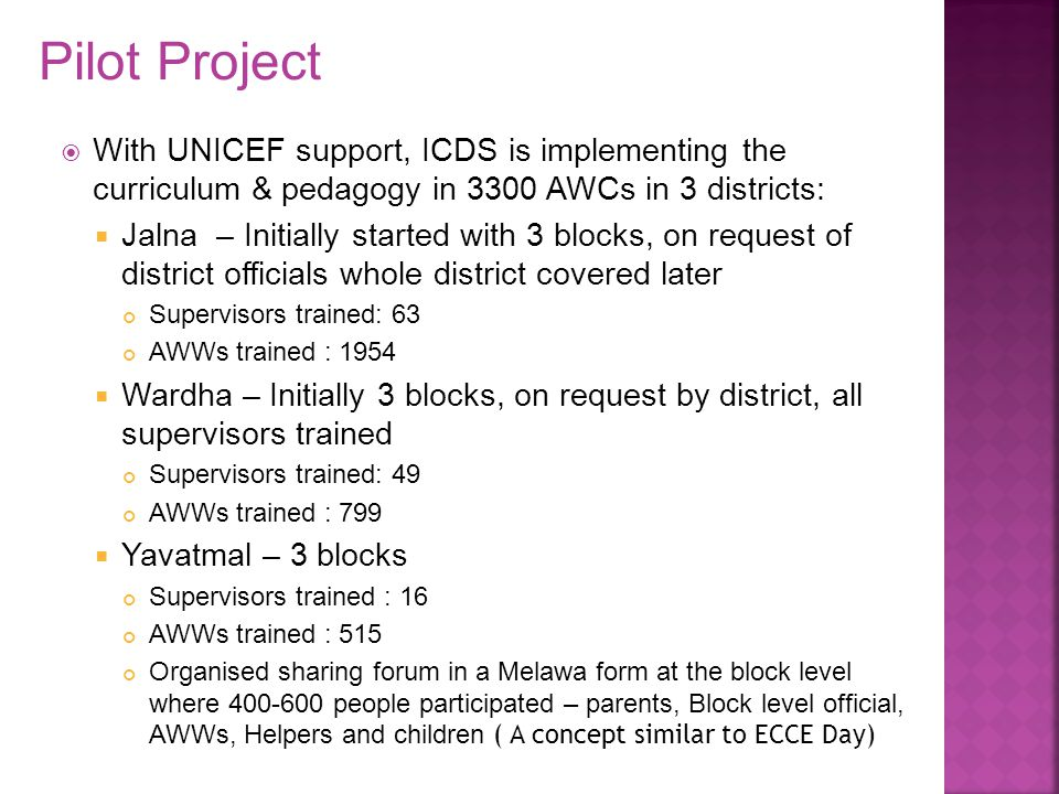 Pilot Project With UNICEF support, ICDS is implementing the curriculum & pedagogy in 3300 AWCs in 3 districts: