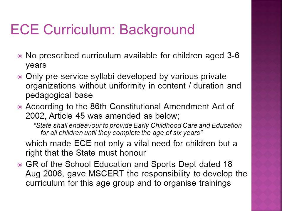 ECE Curriculum: Background