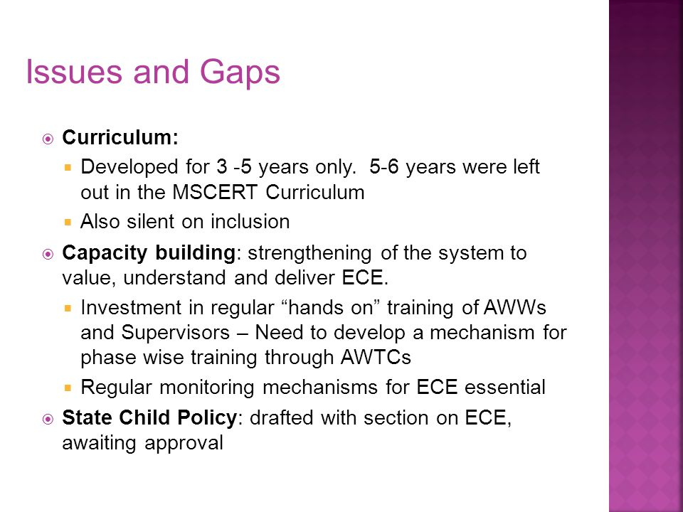 Issues and Gaps Curriculum: