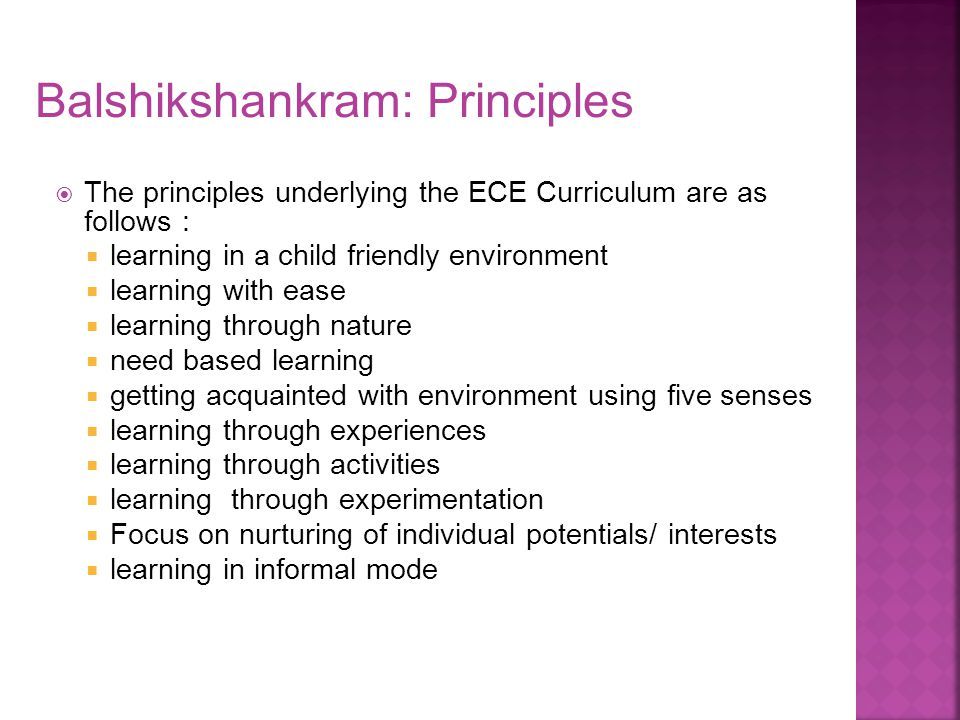 Balshikshankram: Principles