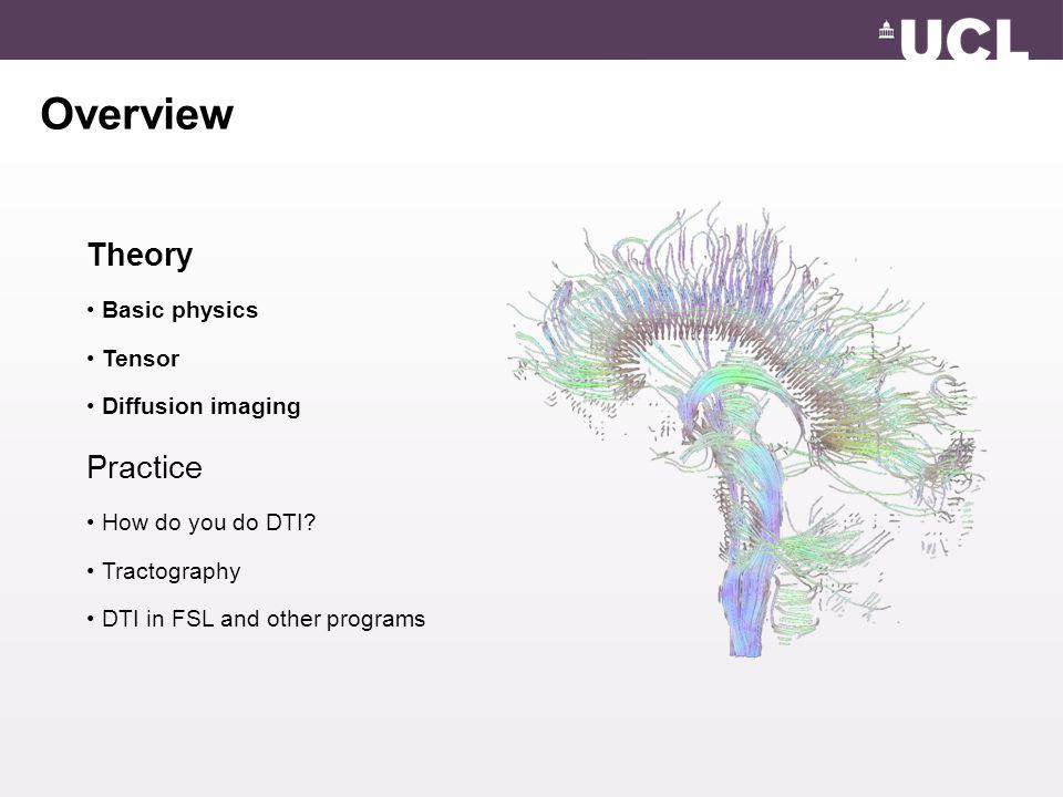 Overview Theory Practice Basic physics Tensor Diffusion imaging