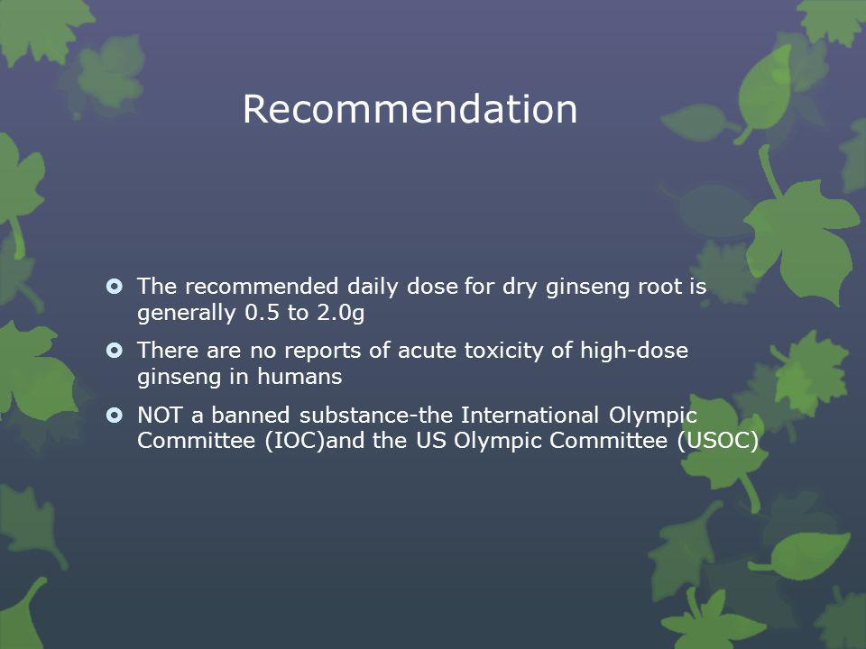 Recommendation The recommended daily dose for dry ginseng root is generally 0.5 to 2.0g.