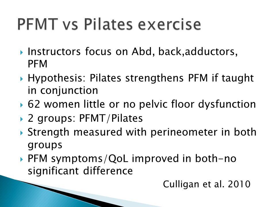PFMT vs Pilates exercise