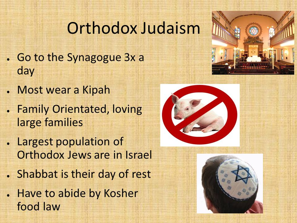 Orthodox Judaism Go to the Synagogue 3x a day Most wear a Kipah