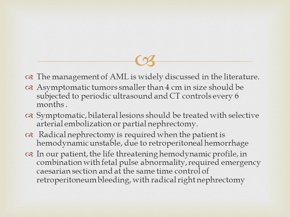 The management of AML is widely discussed in the literature.
