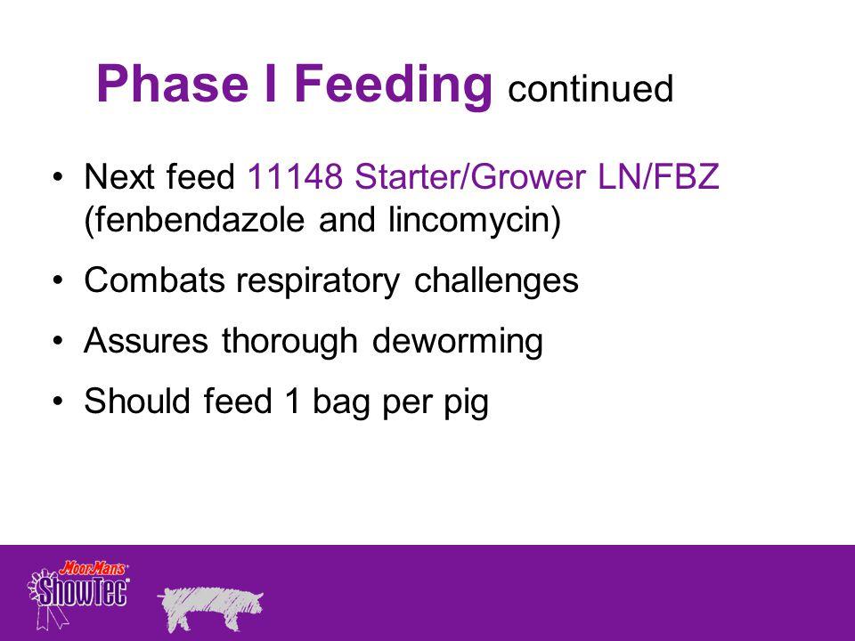Phase I Feeding continued