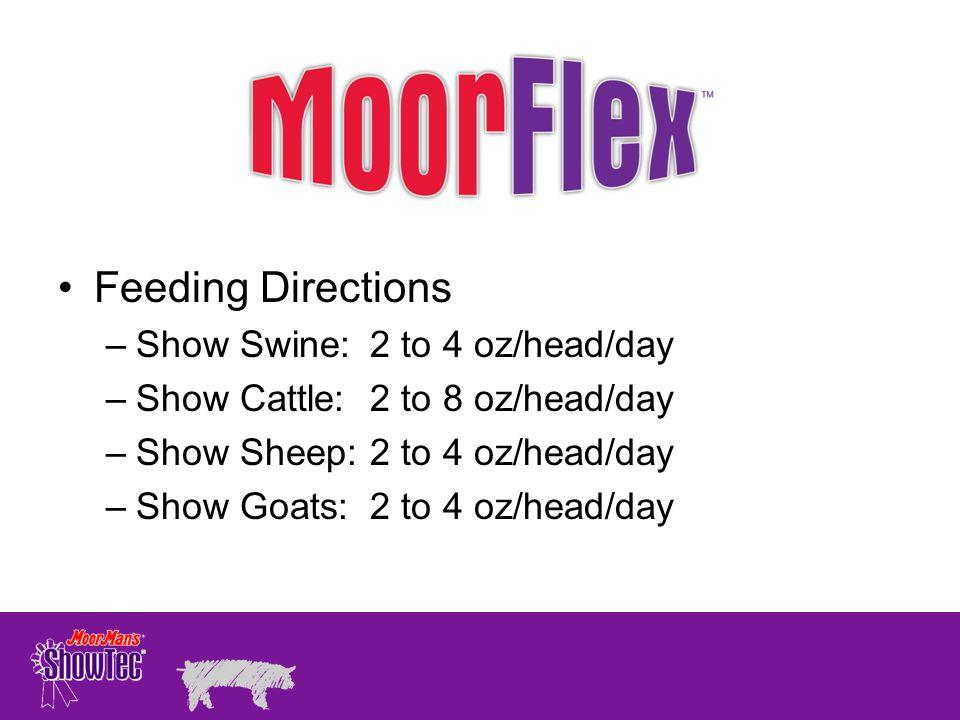 Feeding Directions Show Swine: 2 to 4 oz/head/day