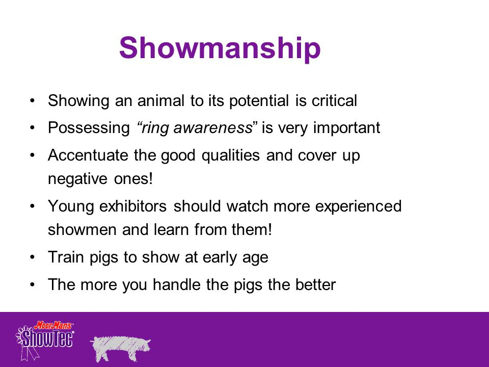Showmanship Showing an animal to its potential is critical