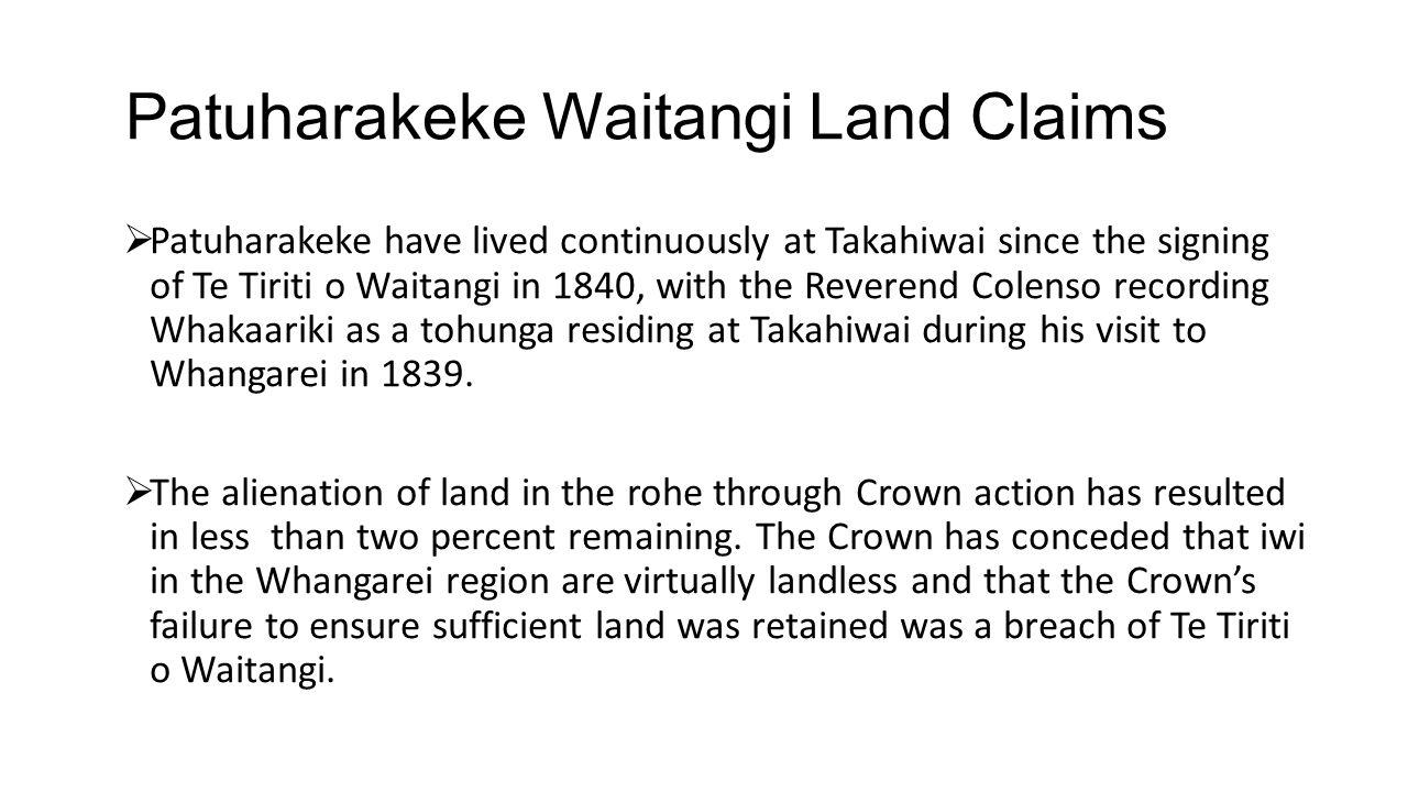 Patuharakeke Waitangi Land Claims