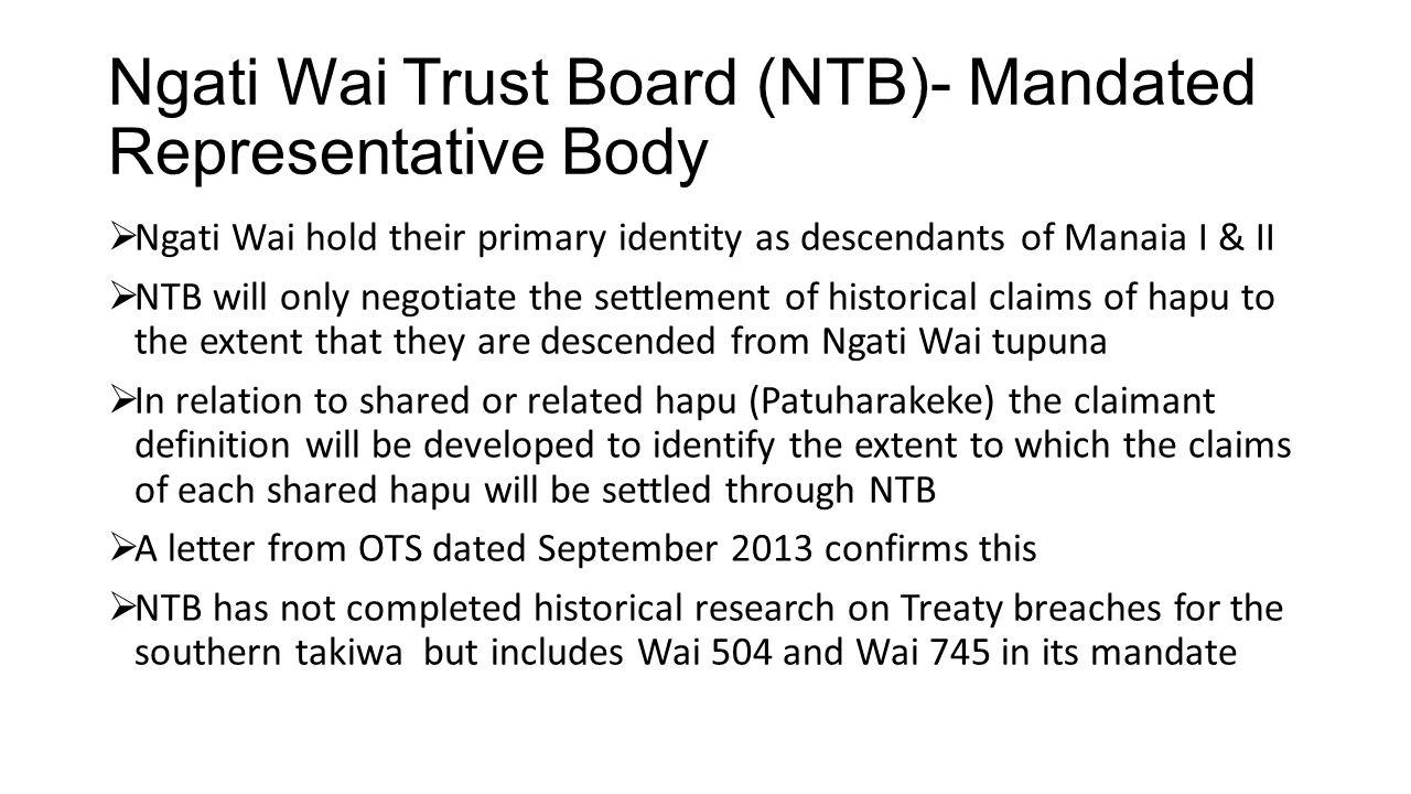 Ngati Wai Trust Board (NTB)- Mandated Representative Body
