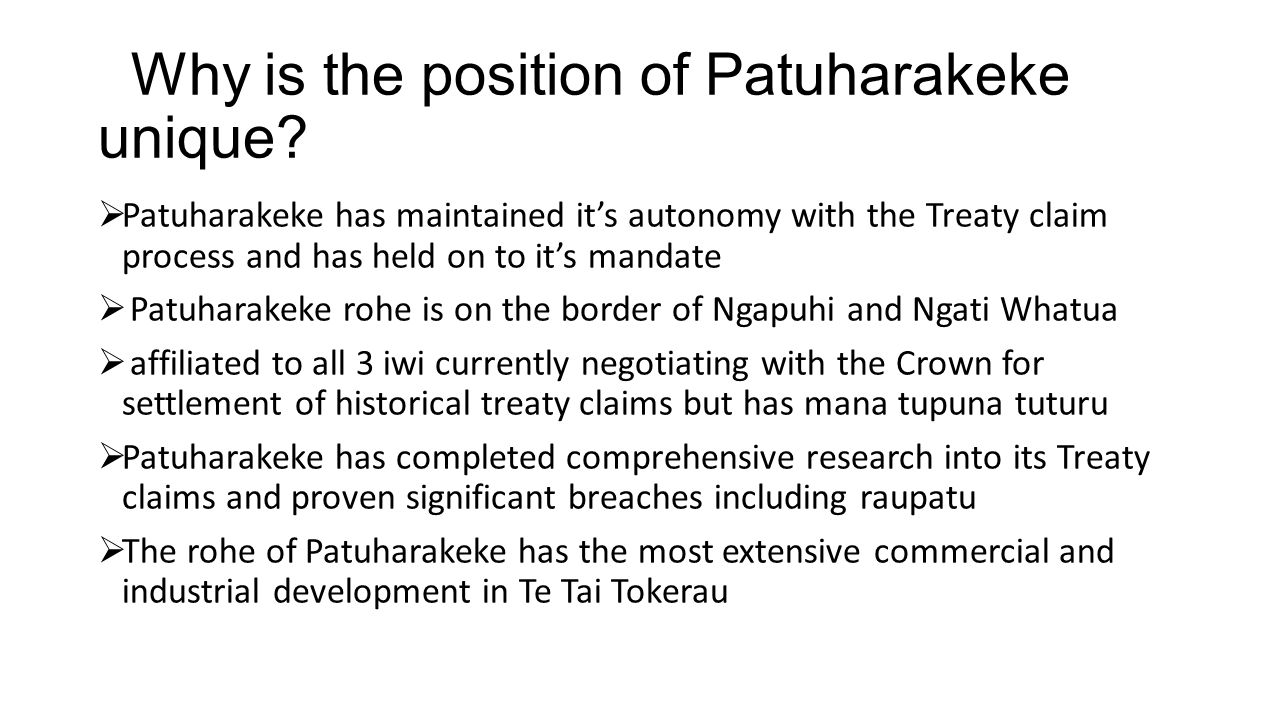 Why is the position of Patuharakeke unique