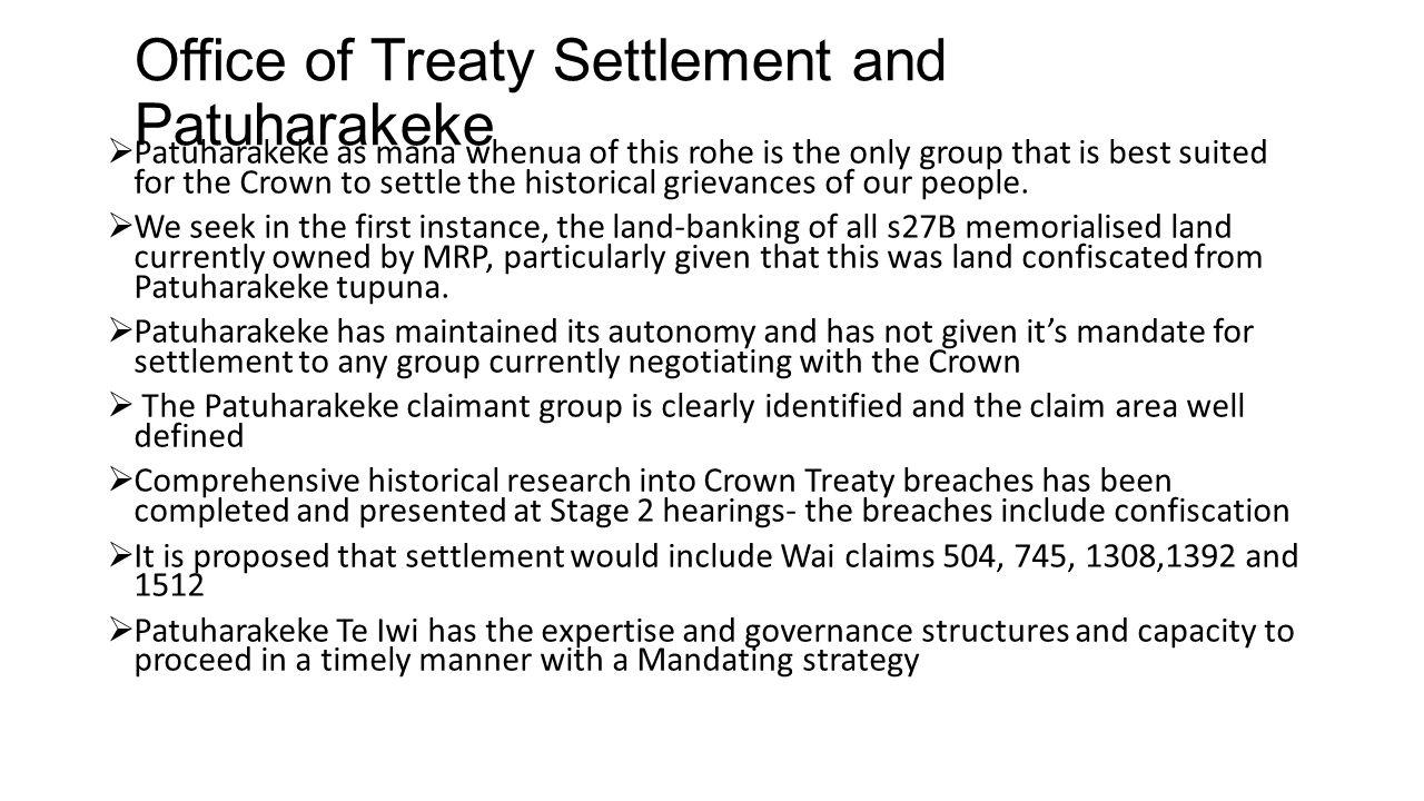 Office of Treaty Settlement and Patuharakeke