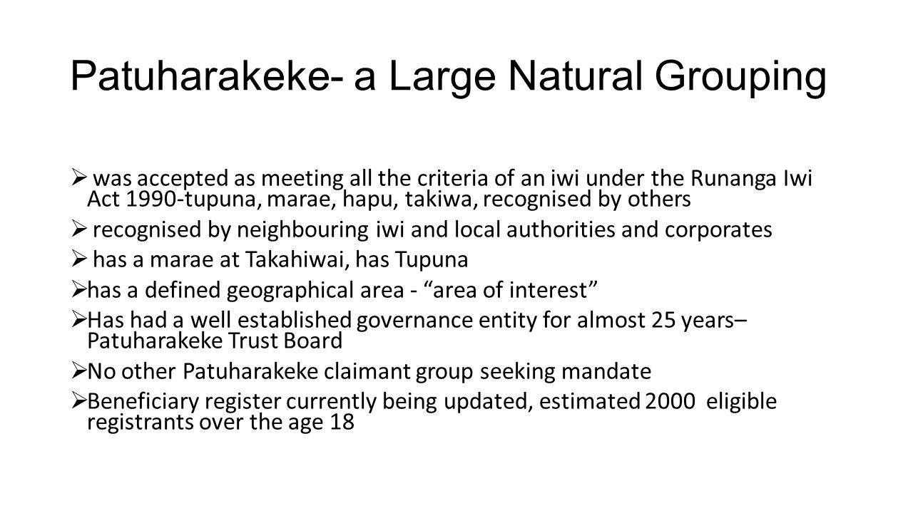 Patuharakeke- a Large Natural Grouping