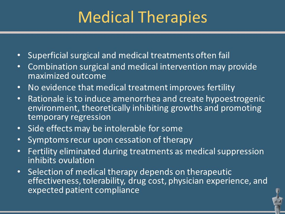 Medical Therapies Superficial surgical and medical treatments often fail.