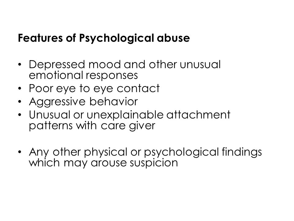 behavior patterns of emotional abuse Emotional abuse emotional abuse is a pattern of behavior that impairs a student's emotional development or sense of self-worth this may include constant criticism, threats, or rejection, as well as withholding love, support, or guidance.