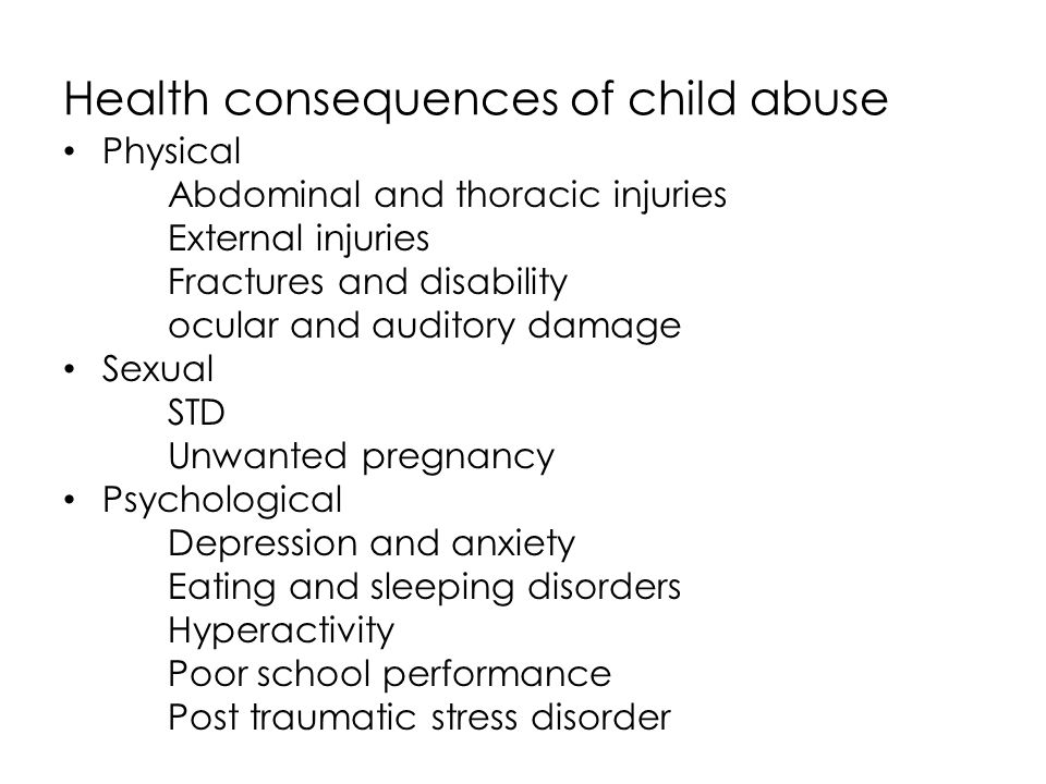 Health consequences of child abuse