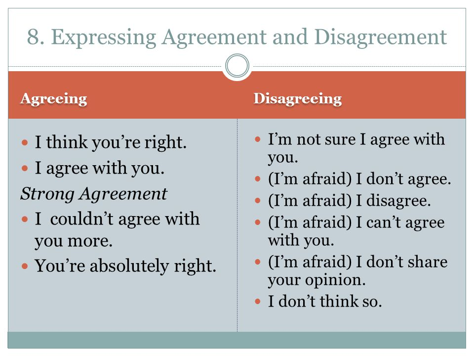 8. Expressing Agreement and Disagreement