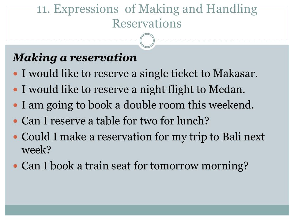 11. Expressions of Making and Handling Reservations