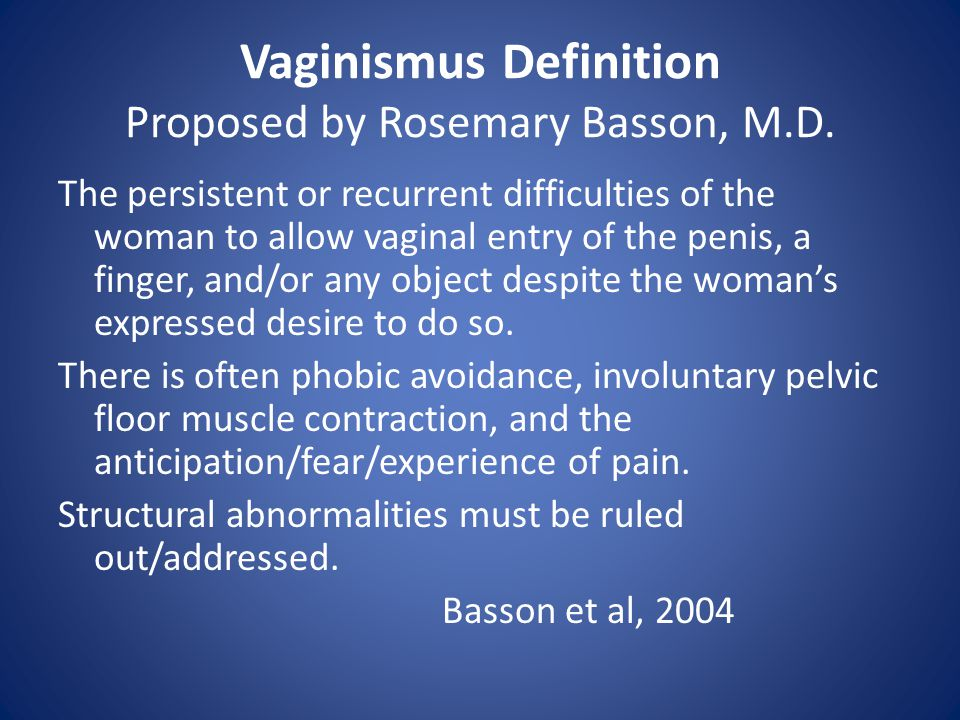 Vaginismus Definition Proposed by Rosemary Basson, M.D.