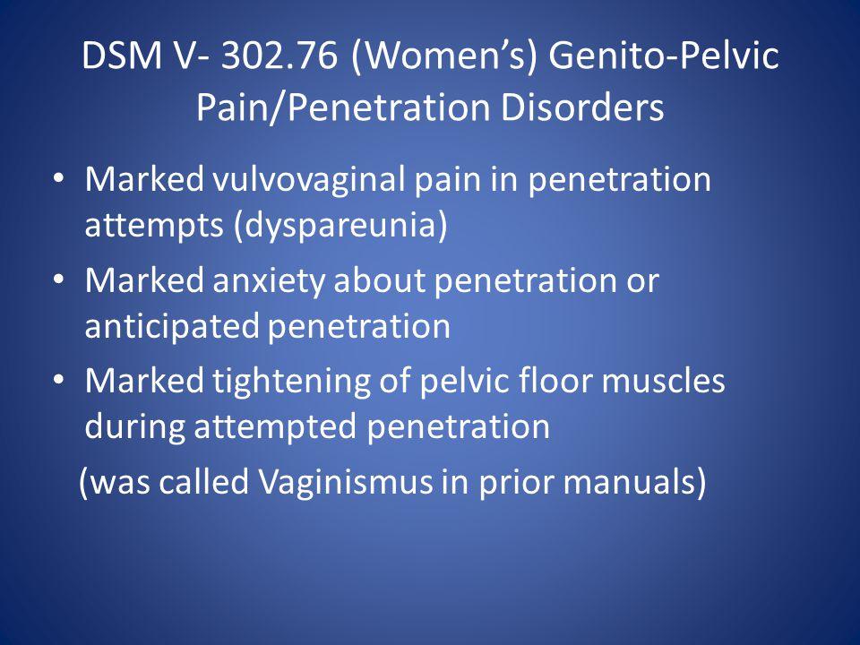DSM V- 302.76 (Women's) Genito-Pelvic Pain/Penetration Disorders