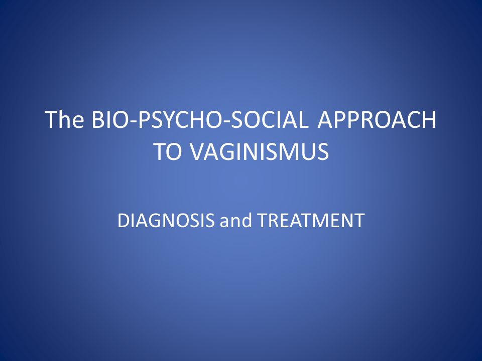 The BIO-PSYCHO-SOCIAL APPROACH TO VAGINISMUS
