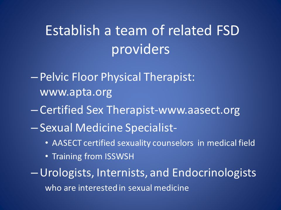 Establish a team of related FSD providers
