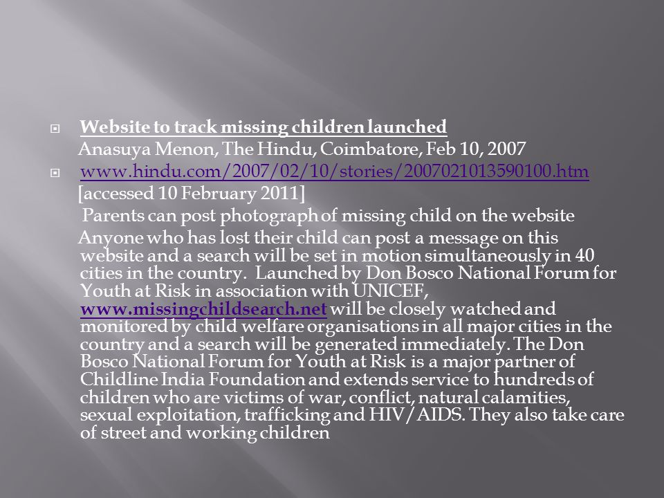 Website to track missing children launched
