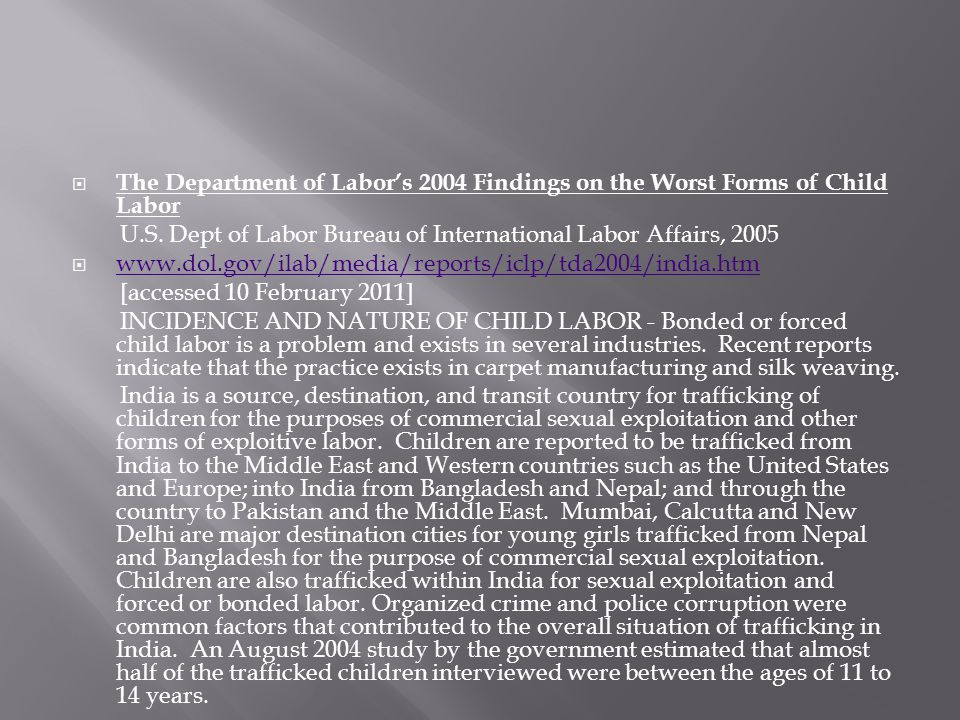 The Department of Labor's 2004 Findings on the Worst Forms of Child Labor